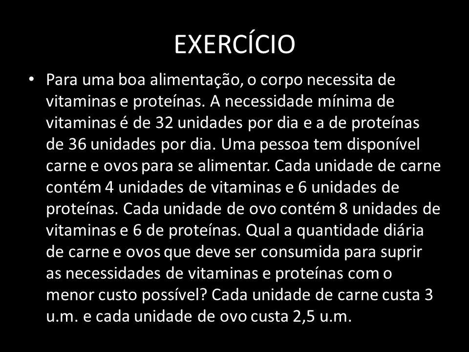 EXERCÍCIO Para uma boa alimentação, o corpo necessita de vitaminas e proteínas. A necessidade mínima de vitaminas é de 32 unidades por dia e a de prot