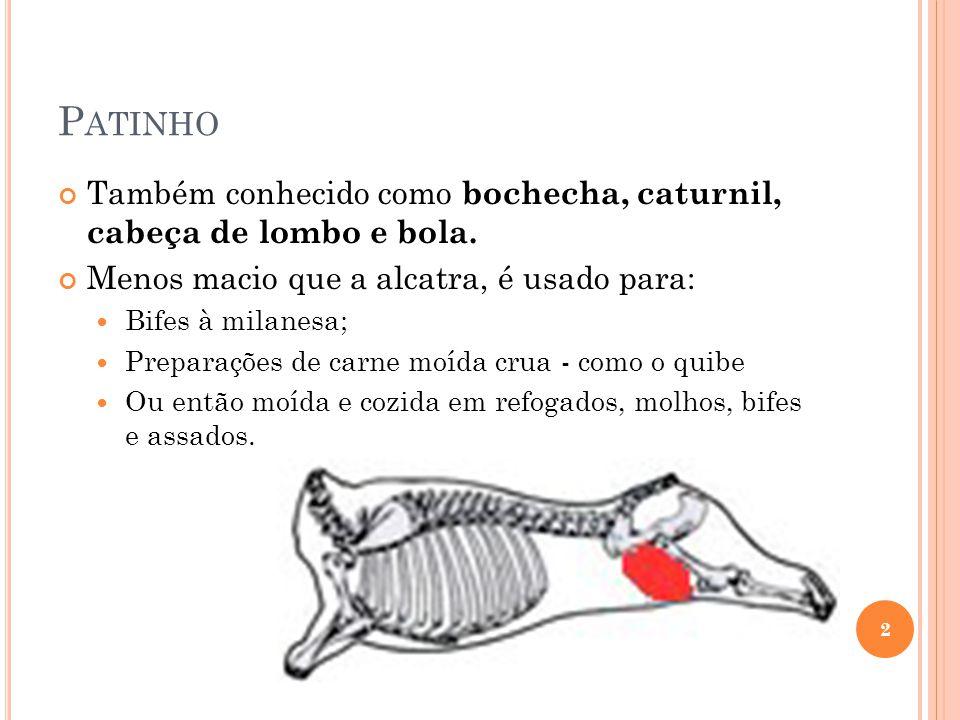P ATINHO Também conhecido como bochecha, caturnil, cabeça de lombo e bola. Menos macio que a alcatra, é usado para: Bifes à milanesa; Preparações de c