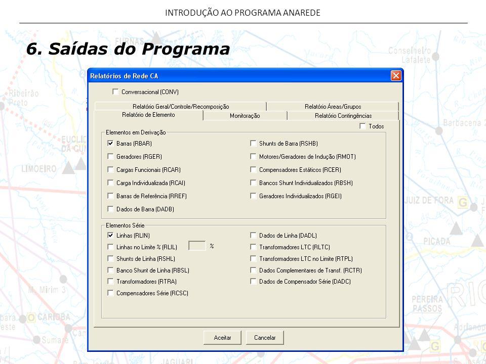 6. Saídas do Programa INTRODUÇÃO AO PROGRAMA ANAREDE