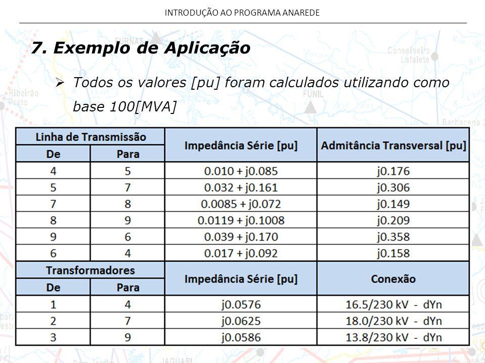 7. Exemplo de Aplicação Todos os valores [pu] foram calculados utilizando como base 100[MVA] INTRODUÇÃO AO PROGRAMA ANAREDE