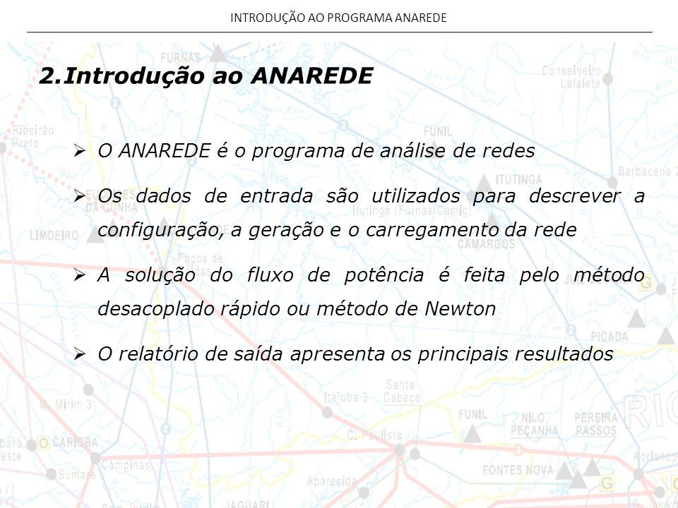 2.Introdução ao ANAREDE O ANAREDE é o programa de análise de redes Os dados de entrada são utilizados para descrever a configuração, a geração e o car
