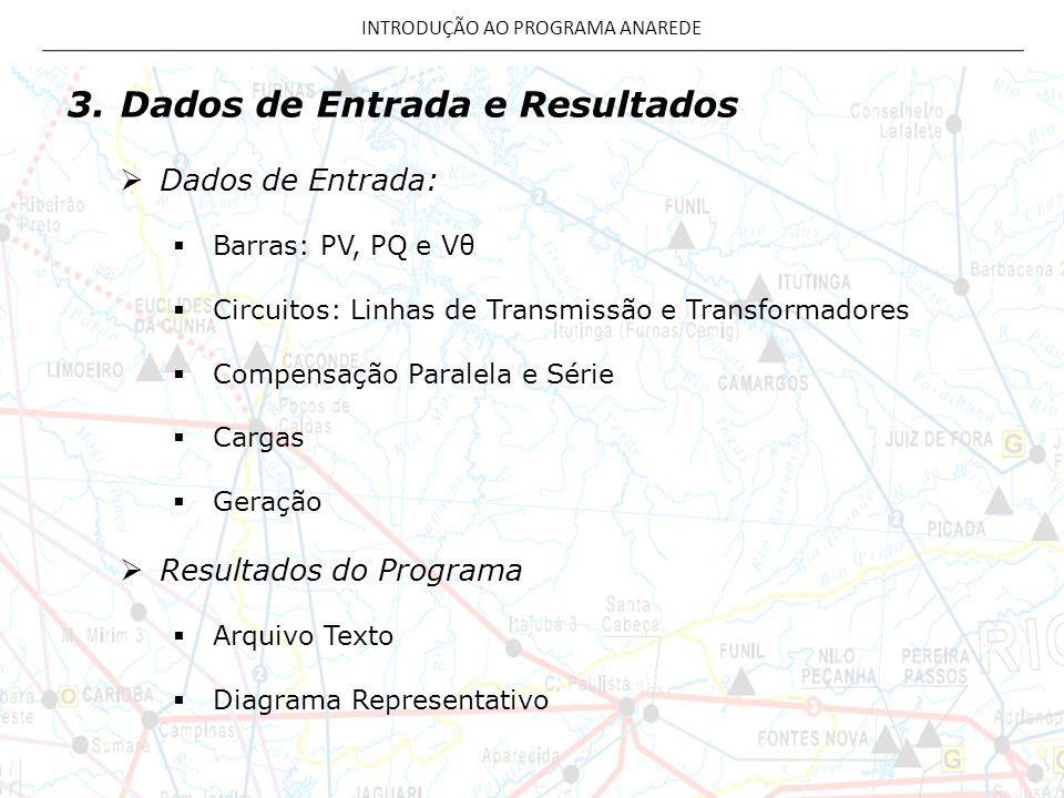 3.Dados de Entrada e Resultados Dados de Entrada: Barras: PV, PQ e Vθ Circuitos: Linhas de Transmissão e Transformadores Compensação Paralela e Série