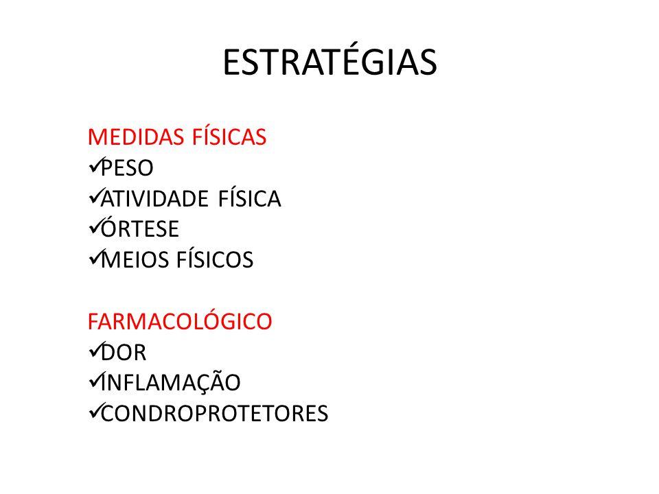 ESTRATÉGIAS MEDIDAS FÍSICAS PESO ATIVIDADE FÍSICA ÓRTESE MEIOS FÍSICOS FARMACOLÓGICO DOR INFLAMAÇÃO CONDROPROTETORES