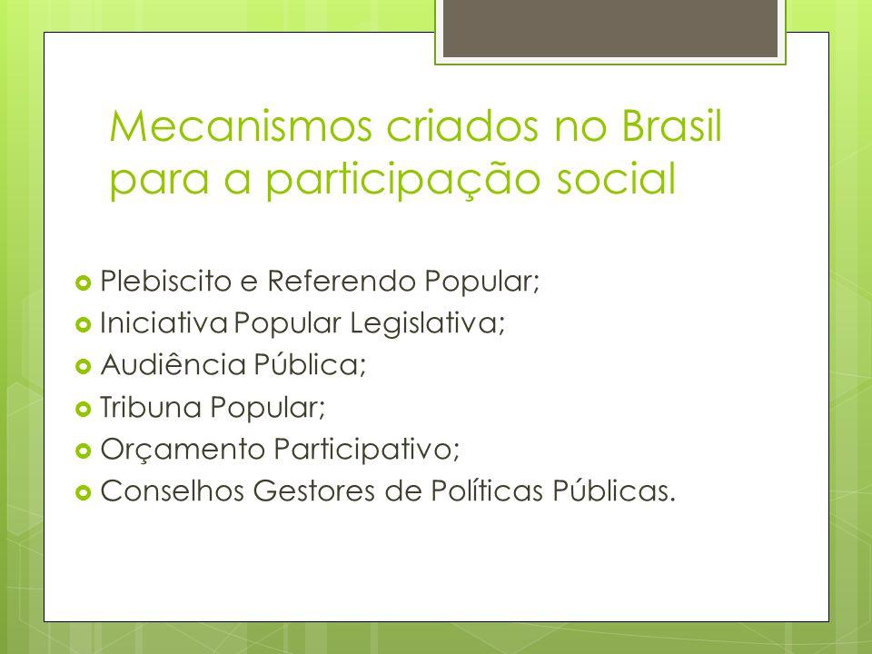 Mecanismos criados no Brasil para a participação social Plebiscito e Referendo Popular; Iniciativa Popular Legislativa; Audiência Pública; Tribuna Pop