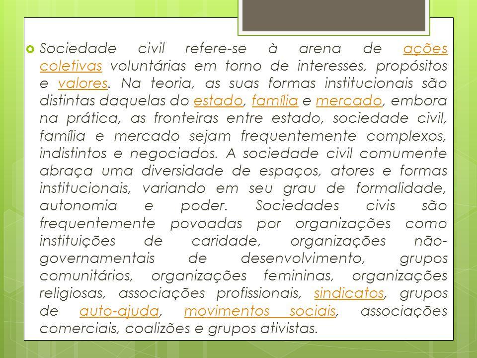 Sociedade civil refere-se à arena de ações coletivas voluntárias em torno de interesses, propósitos e valores. Na teoria, as suas formas institucionai