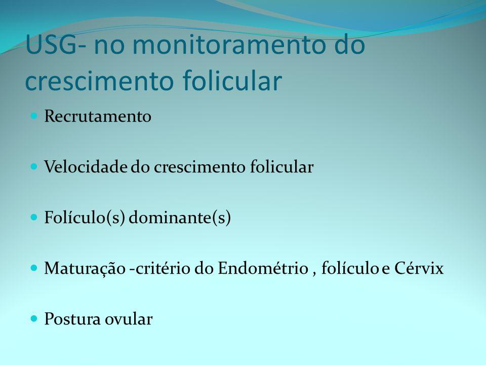 USG- no monitoramento do crescimento folicular Recrutamento Velocidade do crescimento folicular Folículo(s) dominante(s) Maturação -critério do Endométrio, folículo e Cérvix Postura ovular