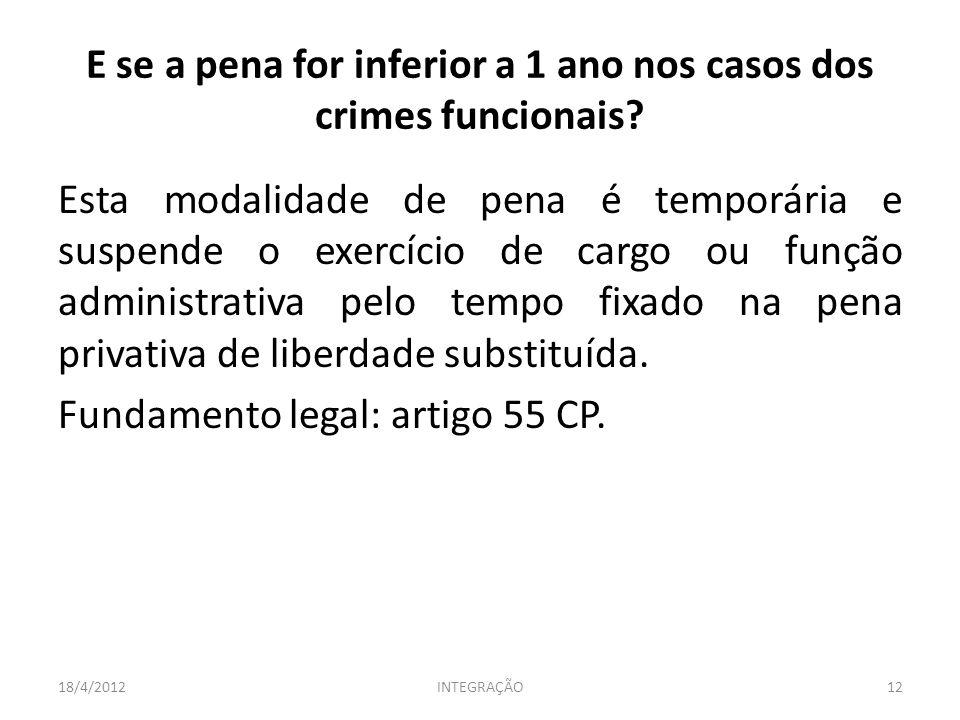 Esta modalidade de pena é temporária e suspende o exercício de cargo ou função administrativa pelo tempo fixado na pena privativa de liberdade substituída.