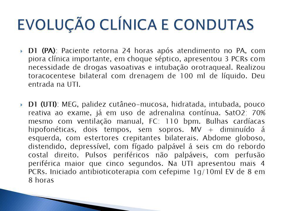 D1 (PA): Paciente retorna 24 horas após atendimento no PA, com piora clínica importante, em choque séptico, apresentou 3 PCRs com necessidade de drogas vasoativas e intubação orotraqueal.