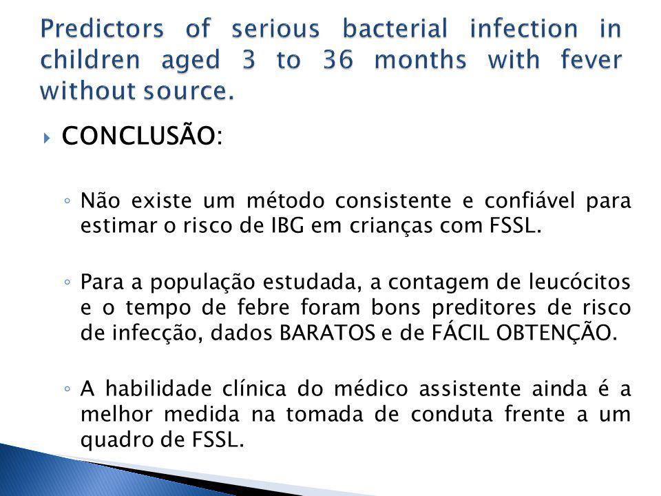 CONCLUSÃO: Não existe um método consistente e confiável para estimar o risco de IBG em crianças com FSSL.