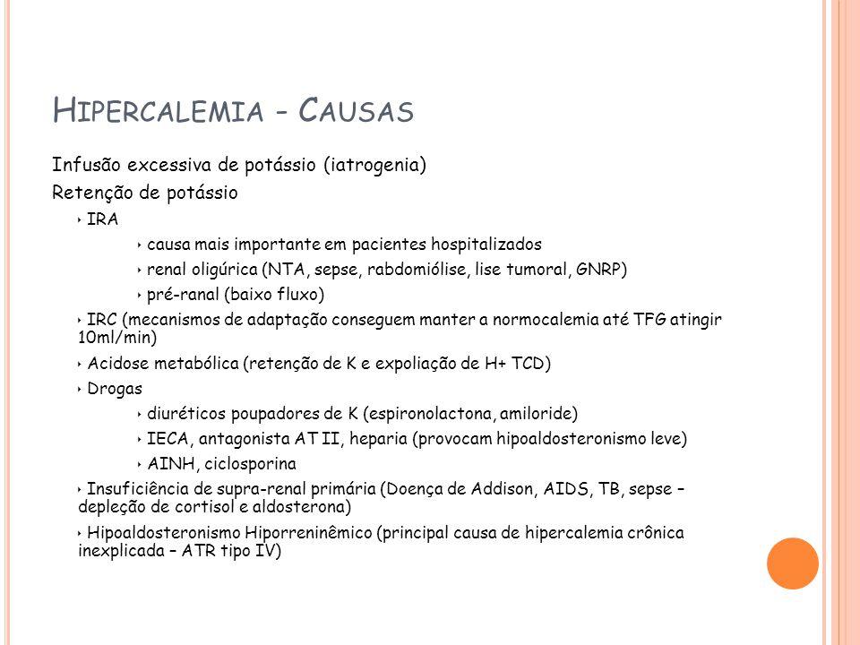 H IPERCALEMIA - C AUSAS Infusão excessiva de potássio (iatrogenia) Retenção de potássio IRA causa mais importante em pacientes hospitalizados renal oligúrica (NTA, sepse, rabdomiólise, lise tumoral, GNRP) pré-ranal (baixo fluxo) IRC (mecanismos de adaptação conseguem manter a normocalemia até TFG atingir 10ml/min) Acidose metabólica (retenção de K e expoliação de H+ TCD) Drogas diuréticos poupadores de K (espironolactona, amiloride) IECA, antagonista AT II, heparia (provocam hipoaldosteronismo leve) AINH, ciclosporina Insuficiência de supra-renal primária (Doença de Addison, AIDS, TB, sepse – depleção de cortisol e aldosterona) Hipoaldosteronismo Hiporreninêmico (principal causa de hipercalemia crônica inexplicada – ATR tipo IV)