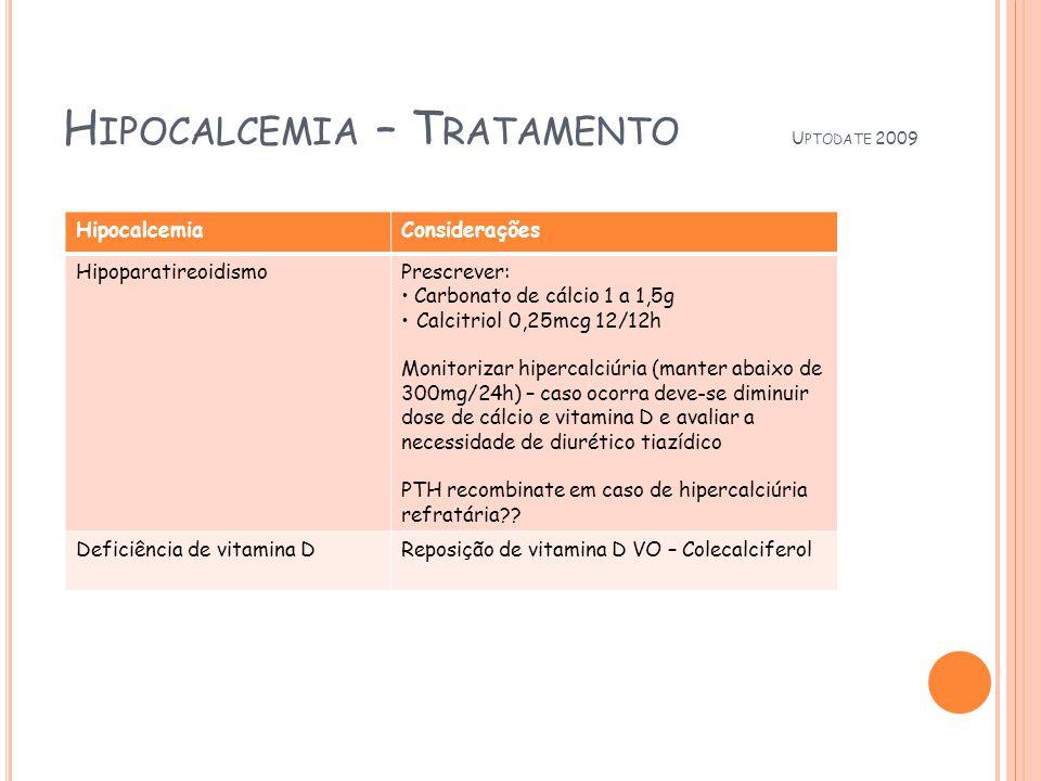 H IPOCALCEMIA – T RATAMENTO U PTODATE 2009 HipocalcemiaConsiderações HipoparatireoidismoPrescrever: Carbonato de cálcio 1 a 1,5g Calcitriol 0,25mcg 12/12h Monitorizar hipercalciúria (manter abaixo de 300mg/24h) – caso ocorra deve-se diminuir dose de cálcio e vitamina D e avaliar a necessidade de diurético tiazídico PTH recombinate em caso de hipercalciúria refratária?.