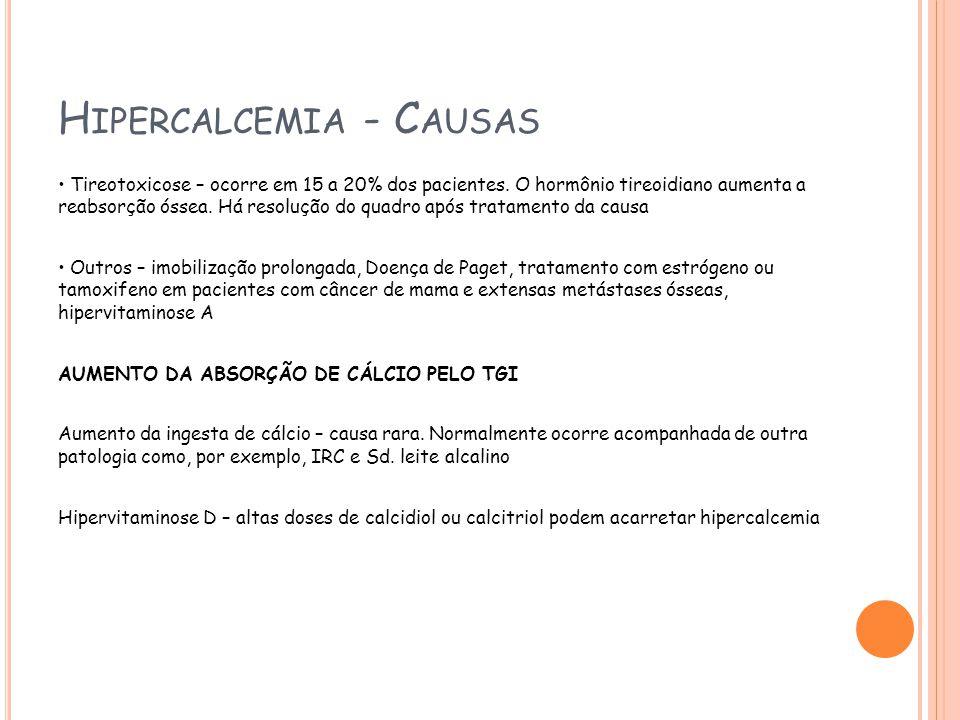 H IPERCALCEMIA - C AUSAS Tireotoxicose – ocorre em 15 a 20% dos pacientes.