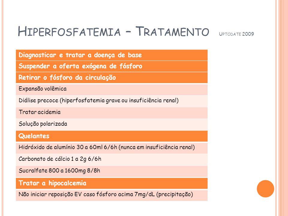 H IPERFOSFATEMIA – T RATAMENTO U PTODATE 2009 Diagnosticar e tratar a doença de base Suspender a oferta exógena de fósforo Retirar o fósforo da circulação Expansão volêmica Diálise precoce (hiperfosfatemia grave ou insuficiência renal) Tratar acidemia Solução polarizada Quelantes Hidróxido de alumínio 30 a 60ml 6/6h (nunca em insuficiência renal) Carbonato de cálcio 1 a 2g 6/6h Sucralfate 800 a 1600mg 8/8h Tratar a hipocalcemia Não iniciar reposição EV caso fósforo acima 7mg/dL (precipitação)