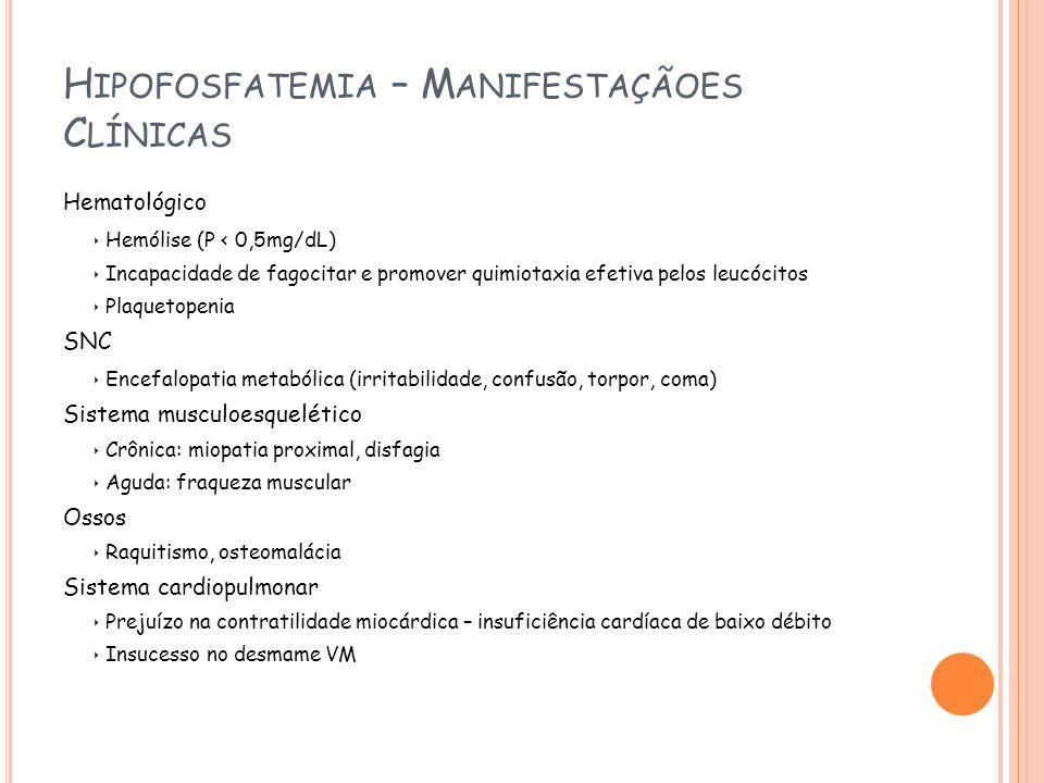 H IPOFOSFATEMIA – M ANIFESTAÇÃOES C LÍNICAS Hematológico Hemólise (P < 0,5mg/dL) Incapacidade de fagocitar e promover quimiotaxia efetiva pelos leucócitos Plaquetopenia SNC Encefalopatia metabólica (irritabilidade, confusão, torpor, coma) Sistema musculoesquelético Crônica: miopatia proximal, disfagia Aguda: fraqueza muscular Ossos Raquitismo, osteomalácia Sistema cardiopulmonar Prejuízo na contratilidade miocárdica – insuficiência cardíaca de baixo débito Insucesso no desmame VM