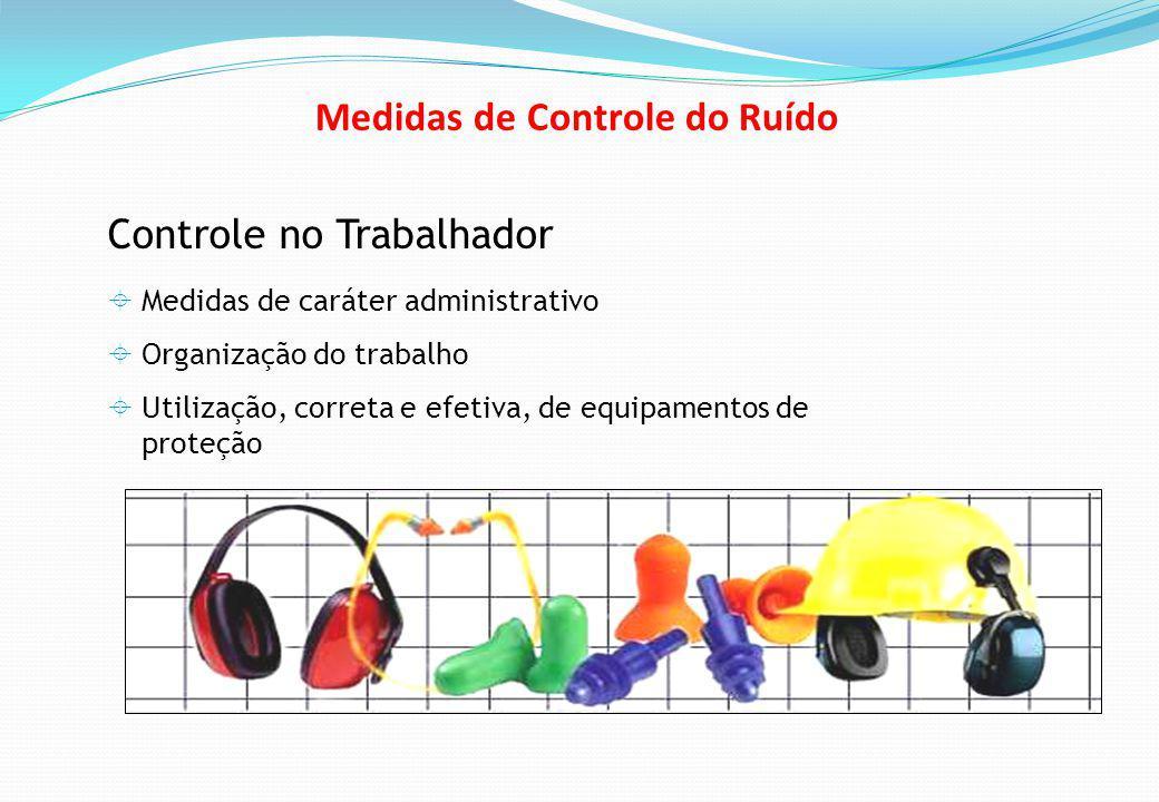 Controle no Trabalhador Medidas de caráter administrativo Organização do trabalho Utilização, correta e efetiva, de equipamentos de proteção Medidas de Controle do Ruído