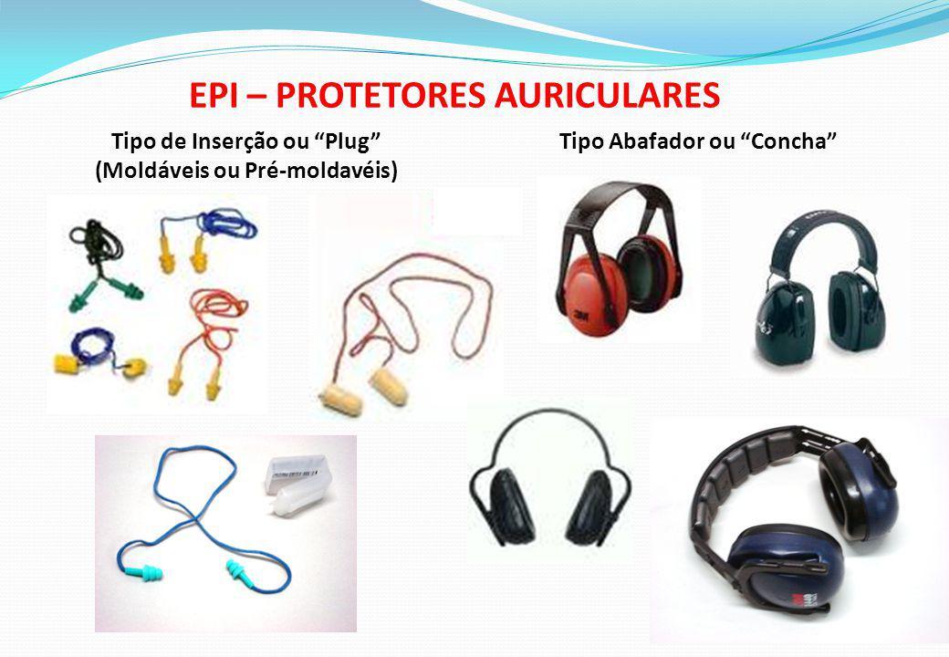 EPI – PROTETORES AURICULARES Tipo de Inserção ou Plug (Moldáveis ou Pré-moldavéis) Tipo Abafador ou Concha