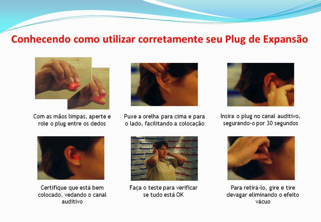 Com as mãos limpas, aperte e role o plug entre os dedos Puxe a orelha para cima e para o lado, facilitando a colocação Insira o plug no canal auditivo, segurando-o por 30 segundos Certifique que está bem colocado, vedando o canal auditivo Faça o teste para verificar se tudo está OK Para retirá-lo, gire e tire devagar eliminando o efeito vácuo Conhecendo como utilizar corretamente seu Plug de Expansão