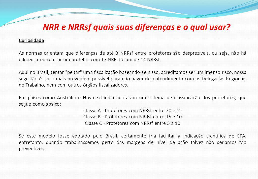 Curiosidade As normas orientam que diferenças de até 3 NRRsf entre protetores são desprezíveis, ou seja, não há diferença entre usar um protetor com 17 NRRsf e um de 14 NRRsf.