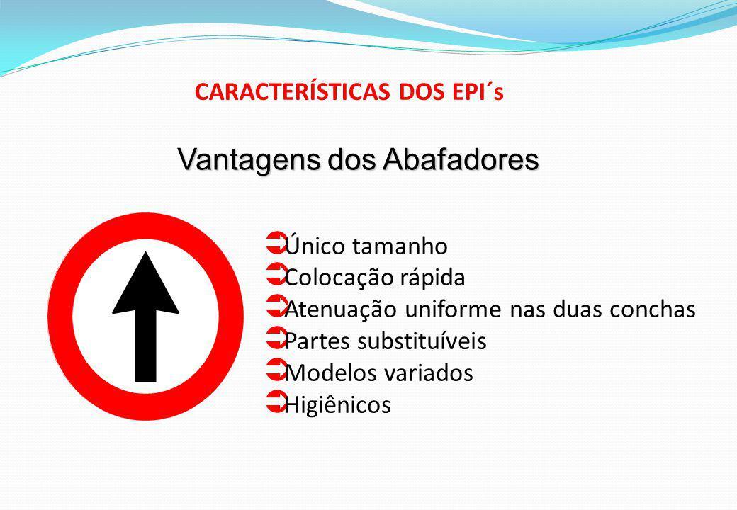 Único tamanho Colocação rápida Atenuação uniforme nas duas conchas Partes substituíveis Modelos variados Higiênicos Vantagens dos Abafadores CARACTERÍSTICAS DOS EPI´s