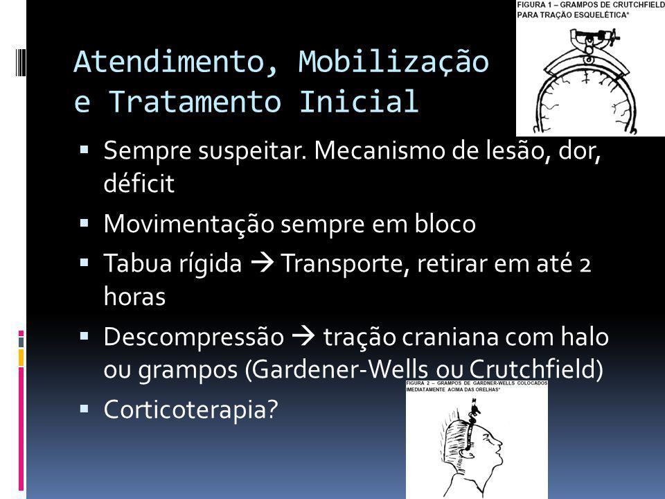 Atendimento, Mobilização e Tratamento Inicial Sempre suspeitar. Mecanismo de lesão, dor, déficit Movimentação sempre em bloco Tabua rígida Transporte,