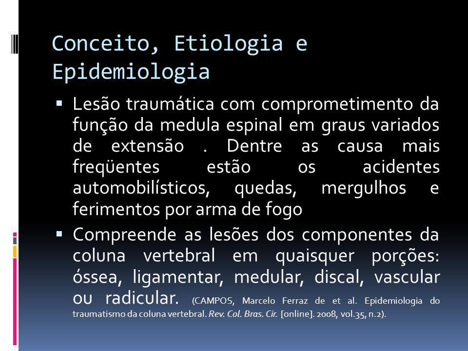 Conceito, Etiologia e Epidemiologia Lesão traumática com comprometimento da função da medula espinal em graus variados de extensão. Dentre as causa ma