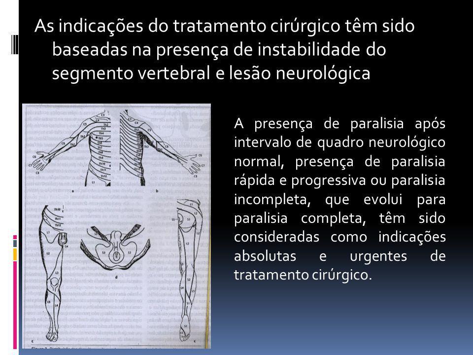 As indicações do tratamento cirúrgico têm sido baseadas na presença de instabilidade do segmento vertebral e lesão neurológica A presença de paralisia