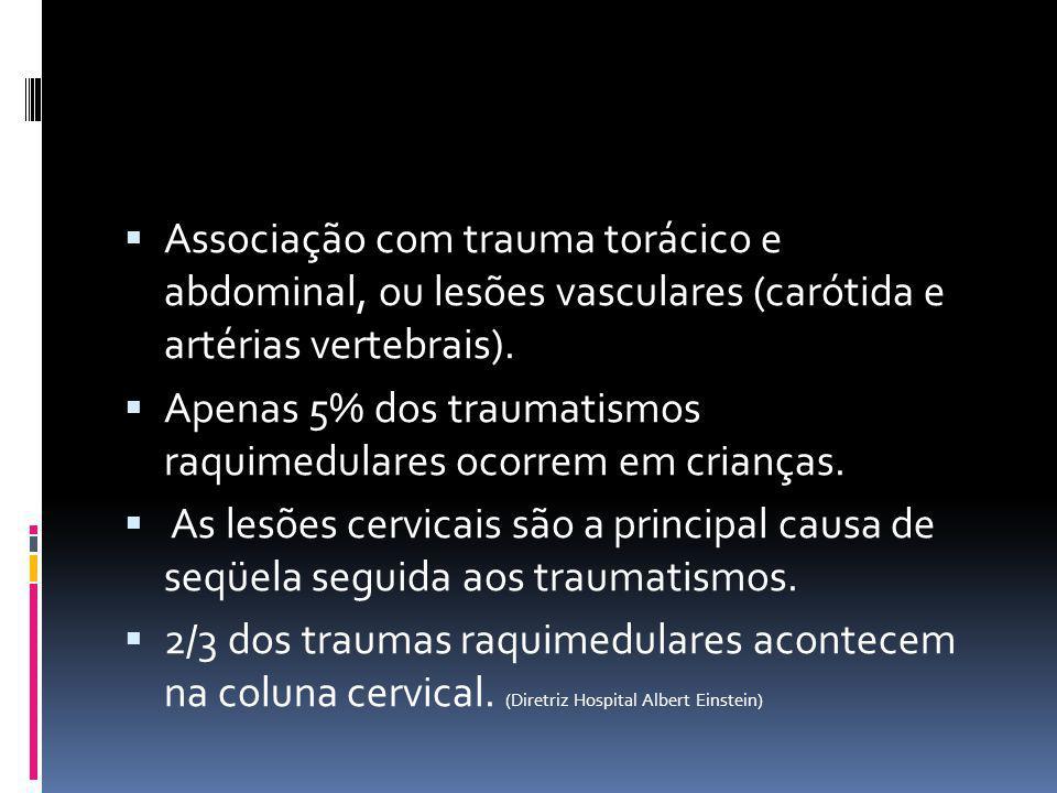 Associação com trauma torácico e abdominal, ou lesões vasculares (carótida e artérias vertebrais). Apenas 5% dos traumatismos raquimedulares ocorrem e