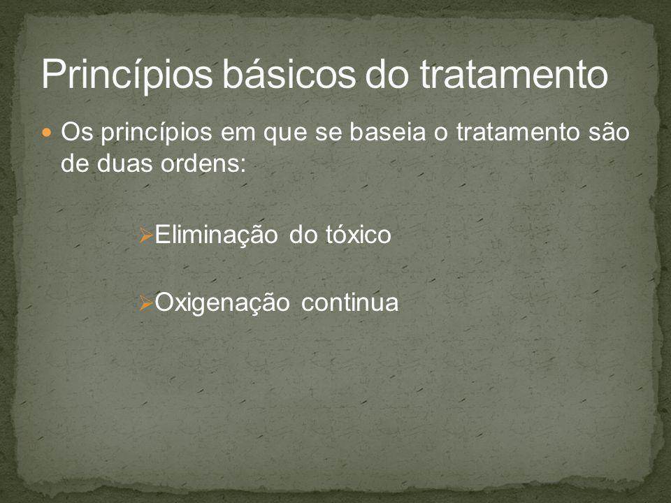 Os princípios em que se baseia o tratamento são de duas ordens: Eliminação do tóxico Oxigenação continua