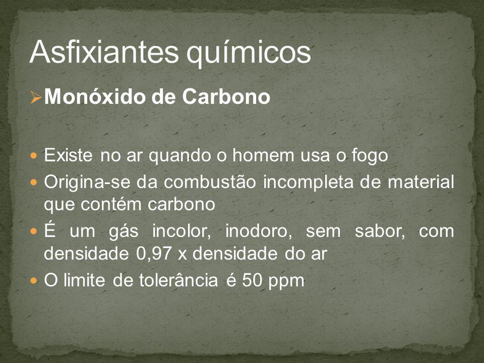 Monóxido de Carbono Existe no ar quando o homem usa o fogo Origina-se da combustão incompleta de material que contém carbono É um gás incolor, inodoro, sem sabor, com densidade 0,97 x densidade do ar O limite de tolerância é 50 ppm
