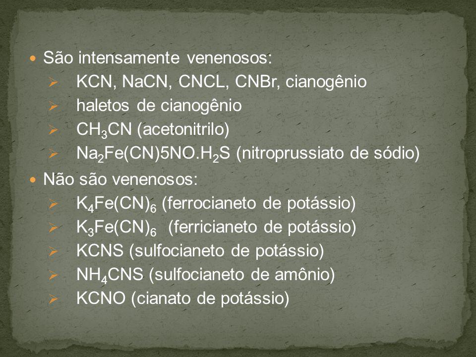 São intensamente venenosos: KCN, NaCN, CNCL, CNBr, cianogênio haletos de cianogênio CH 3 CN (acetonitrilo) Na 2 Fe(CN)5NO.H 2 S (nitroprussiato de sódio) Não são venenosos: K 4 Fe(CN) 6 (ferrocianeto de potássio) K 3 Fe(CN) 6 (ferricianeto de potássio) KCNS (sulfocianeto de potássio) NH 4 CNS (sulfocianeto de amônio) KCNO (cianato de potássio)