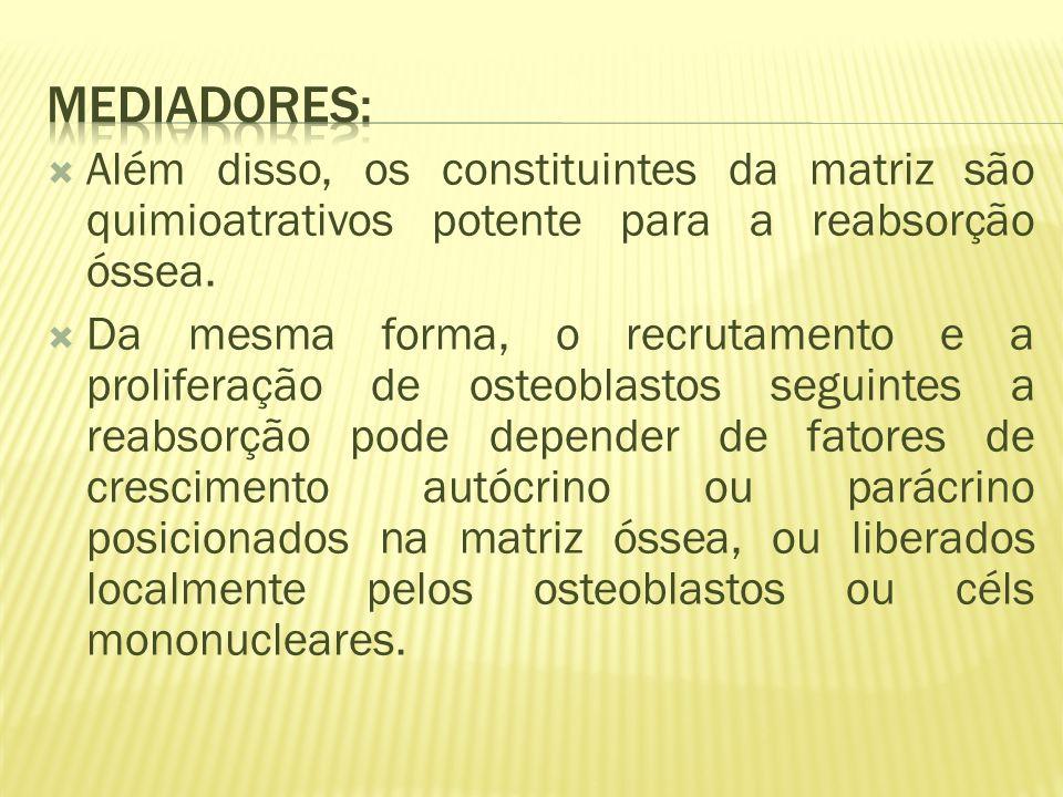 Além disso, os constituintes da matriz são quimioatrativos potente para a reabsorção óssea.