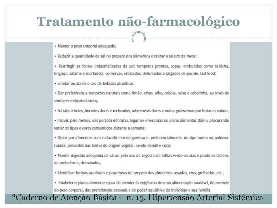 Tratamento não-farmacológico *Caderno de Atenção Básica – n. 15. Hipertensão Arterial Sistêmica