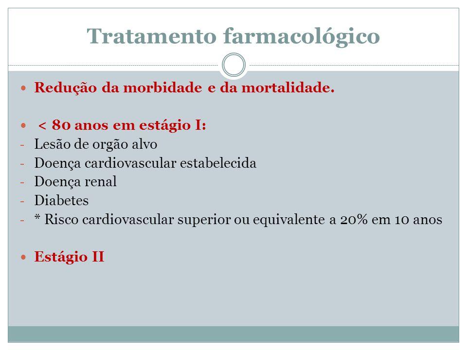 Tratamento farmacológico Redução da morbidade e da mortalidade. < 80 anos em estágio I: - Lesão de orgão alvo - Doença cardiovascular estabelecida - D