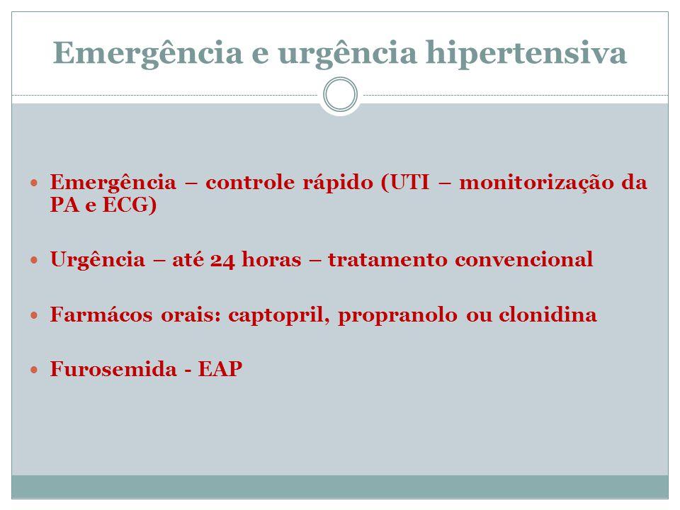 Emergência e urgência hipertensiva Emergência – controle rápido (UTI – monitorização da PA e ECG) Urgência – até 24 horas – tratamento convencional Fa