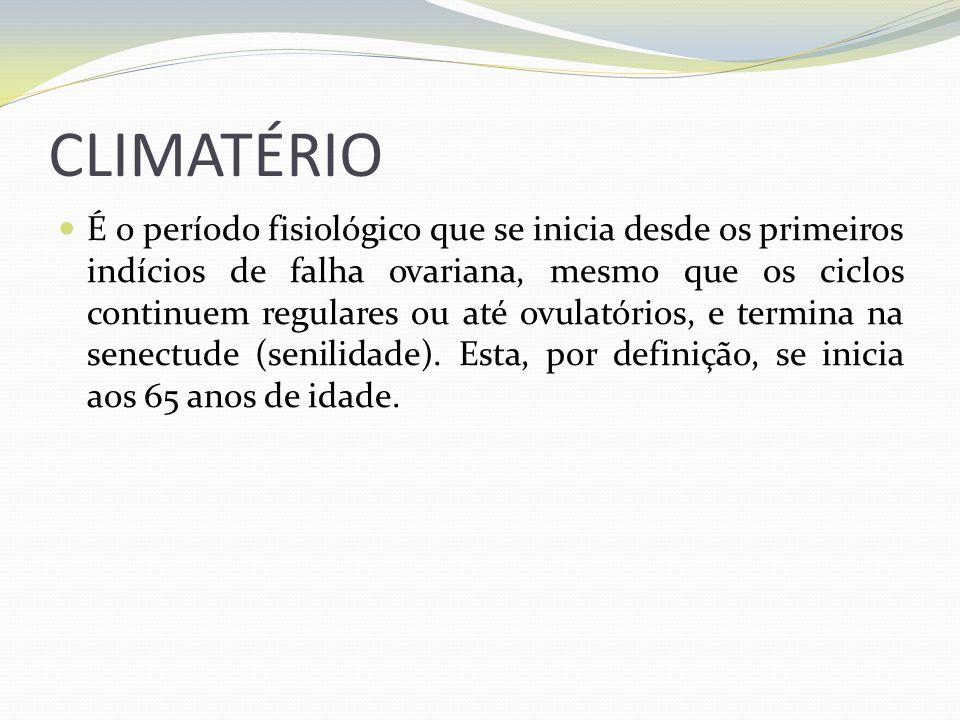 CLIMATÉRIO É o período fisiológico que se inicia desde os primeiros indícios de falha ovariana, mesmo que os ciclos continuem regulares ou até ovulató