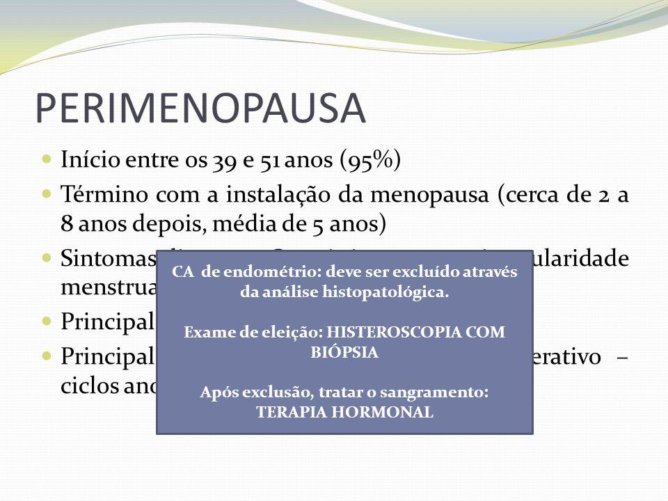 PERIMENOPAUSA Início entre os 39 e 51 anos (95%) Término com a instalação da menopausa (cerca de 2 a 8 anos depois, média de 5 anos) Sintomas discreto