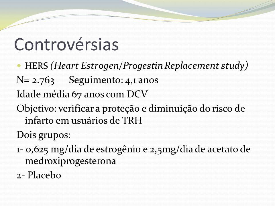 Controvérsias HERS (Heart Estrogen/Progestin Replacement study) N= 2.763 Seguimento: 4,1 anos Idade média 67 anos com DCV Objetivo: verificar a proteç