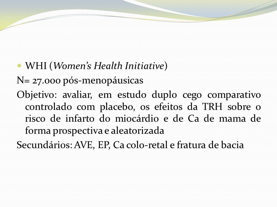 WHI (Womens Health Initiative) N= 27.000 pós-menopáusicas Objetivo: avaliar, em estudo duplo cego comparativo controlado com placebo, os efeitos da TR
