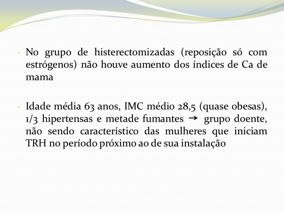 - No grupo de histerectomizadas (reposição só com estrógenos) não houve aumento dos índices de Ca de mama - Idade média 63 anos, IMC médio 28,5 (quase