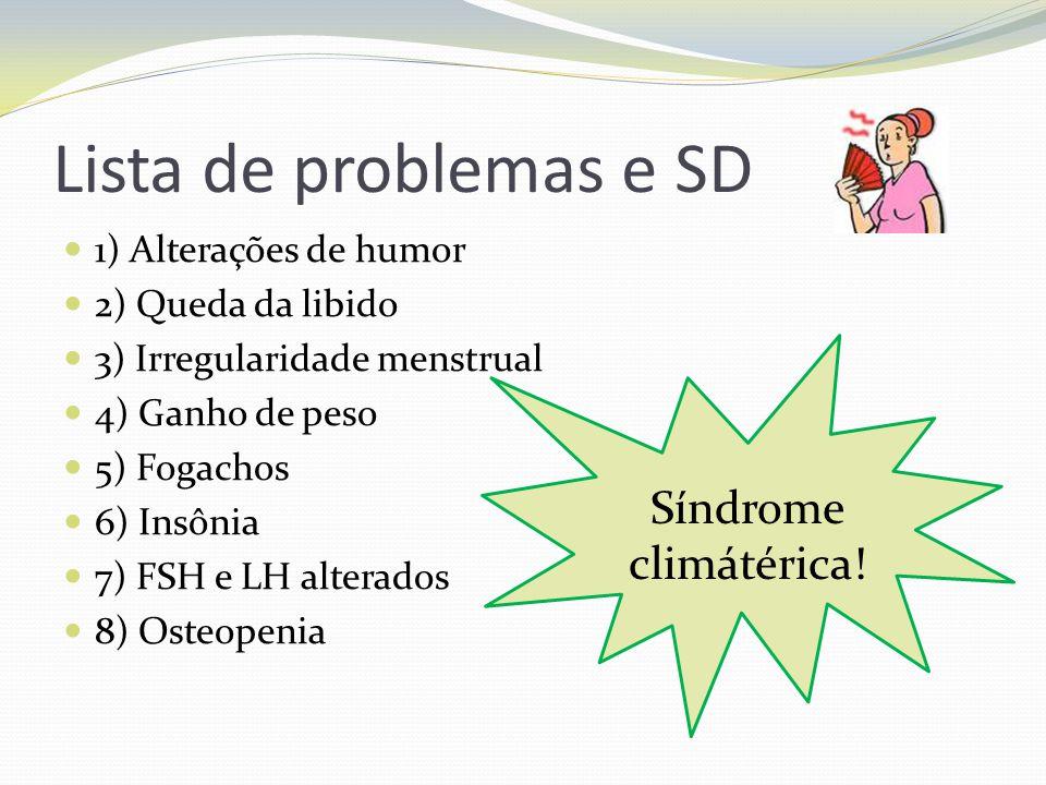 Lista de problemas e SD 1) Alterações de humor 2) Queda da libido 3) Irregularidade menstrual 4) Ganho de peso 5) Fogachos 6) Insônia 7) FSH e LH alte