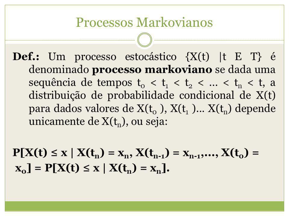 Processos Markovianos Def.: Um processo estocástico {X(t) |t E T} é denominado processo markoviano se dada uma sequência de tempos t 0 < t 1 < t 2 <..