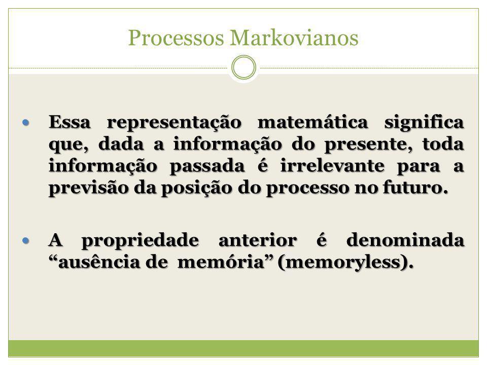 Processos Markovianos Essa representação matemática significa que, dada a informação do presente, toda informação passada é irrelevante para a previsã