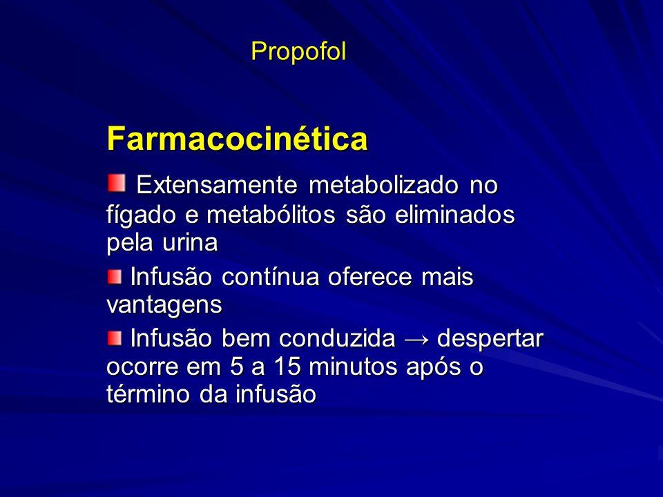 Propofol Farmacocinética Extensamente metabolizado no fígado e metabólitos são eliminados pela urina Extensamente metabolizado no fígado e metabólitos