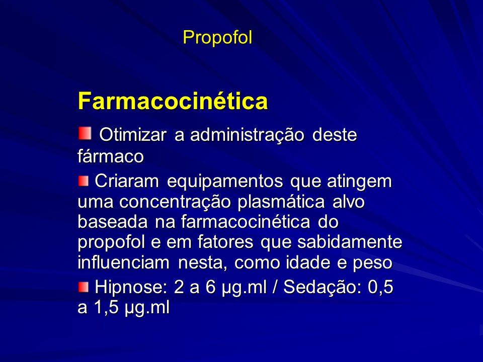 Propofol Farmacocinética Otimizar a administração deste fármaco Otimizar a administração deste fármaco Criaram equipamentos que atingem uma concentraç