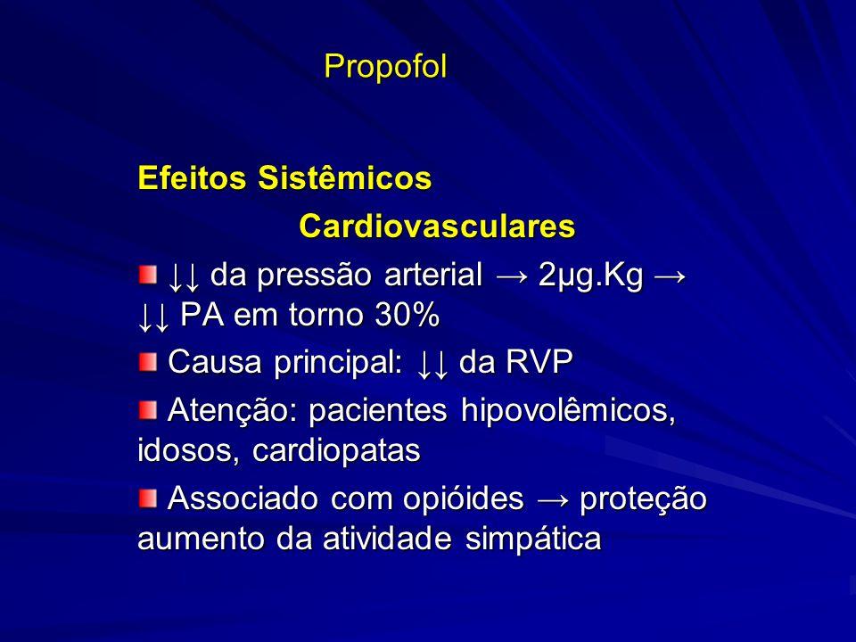 Propofol Efeitos Sistêmicos Cardiovasculares Cardiovasculares da pressão arterial 2µg.Kg PA em torno 30% da pressão arterial 2µg.Kg PA em torno 30% Ca