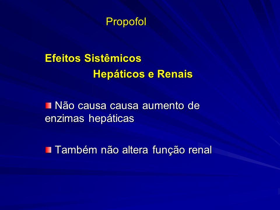 Propofol Efeitos Sistêmicos Hepáticos e Renais Hepáticos e Renais Não causa causa aumento de enzimas hepáticas Não causa causa aumento de enzimas hepá