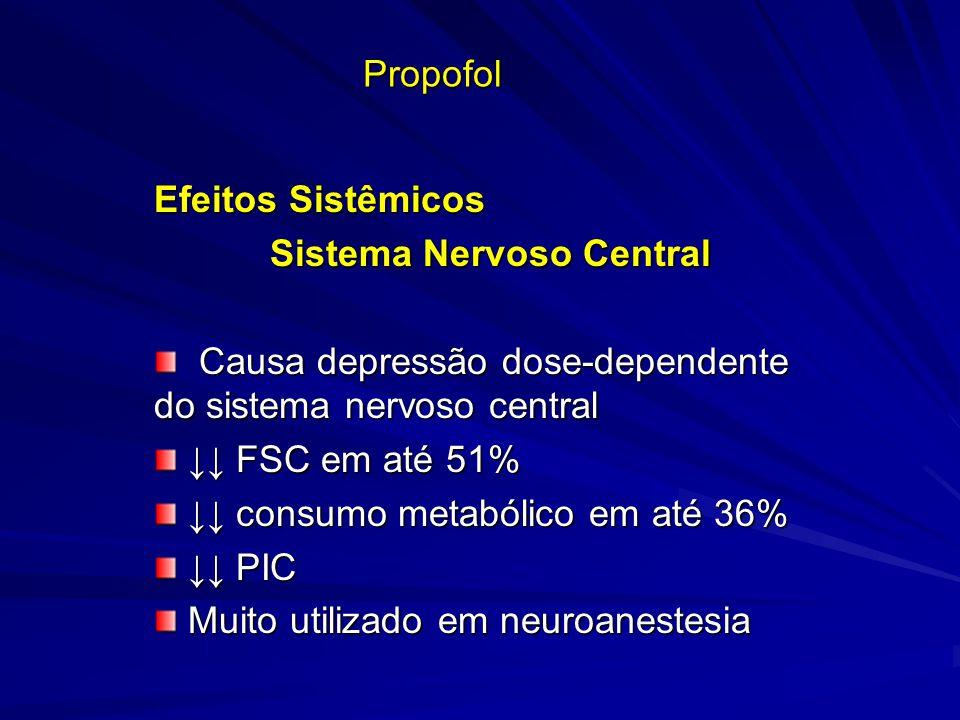 Propofol Efeitos Sistêmicos Sistema Nervoso Central Sistema Nervoso Central Causa depressão dose-dependente do sistema nervoso central Causa depressão