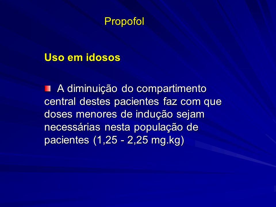Propofol Uso em idosos A diminuição do compartimento central destes pacientes faz com que doses menores de indução sejam necessárias nesta população d
