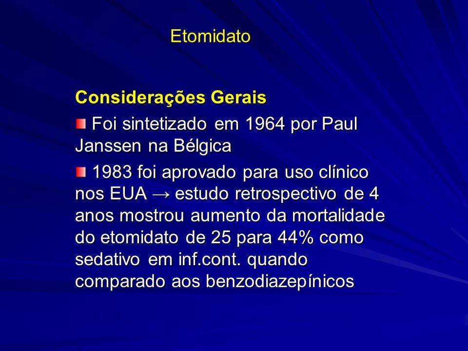 Etomidato Considerações Gerais Foi sintetizado em 1964 por Paul Janssen na Bélgica Foi sintetizado em 1964 por Paul Janssen na Bélgica 1983 foi aprova