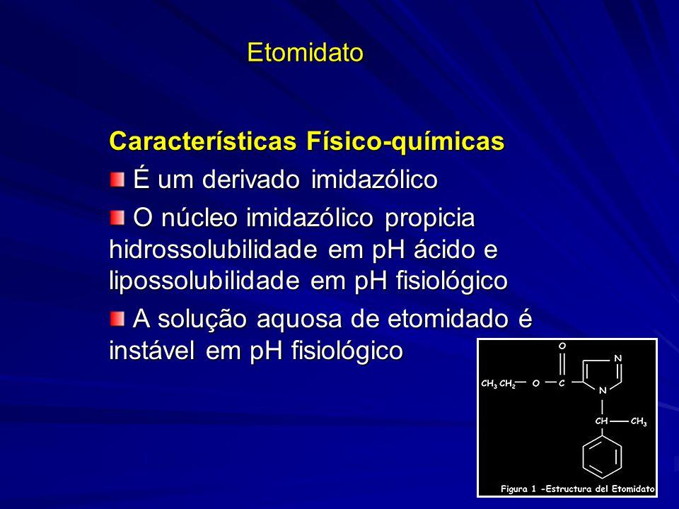 Etomidato Características Físico-químicas É um derivado imidazólico É um derivado imidazólico O núcleo imidazólico propicia hidrossolubilidade em pH á